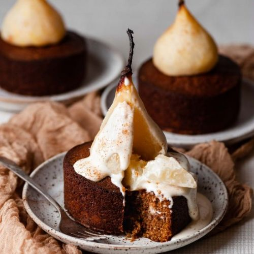 Mini Poached Pear Cardamom Cakes