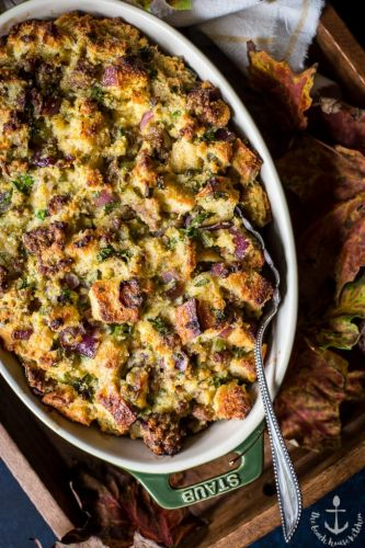 Cornbread and Sourdough Stuffing with Sausage and Fresh Herbs
