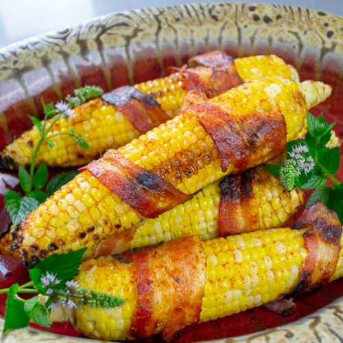 Roasted Corn Wrapped in Bacon