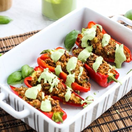 Nutty Peppers with Basil Creme