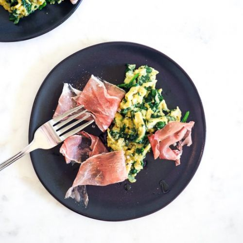Spinachy Scramble with Prosciutto