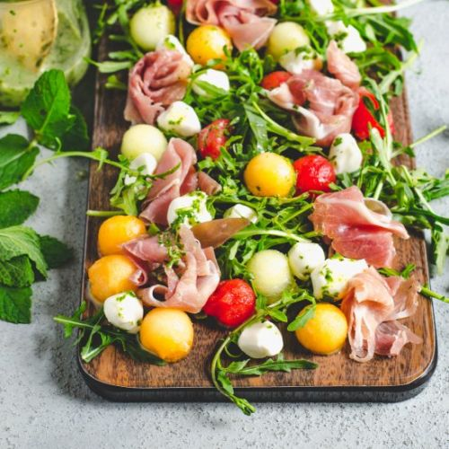 Melon Prosciutto Salad with Mint Ba