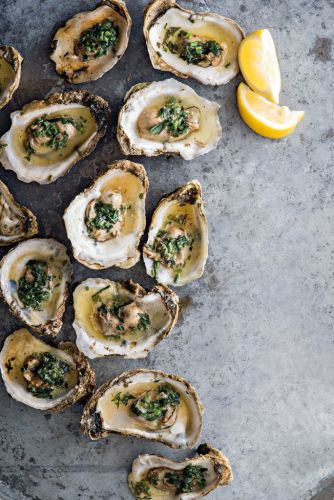 Grilled Oysters with Fines Herbes Butter