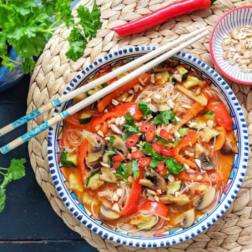 Spicy Thai Noodle Soup with Veggies