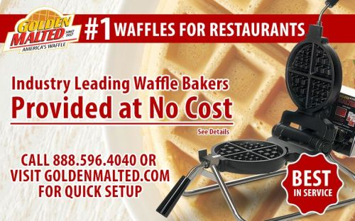 1 Waffles for Restaurants - Waffle Irons Provided at No Cost with Golden Malted