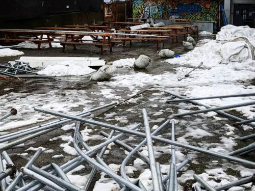 Winter Storm Damaged Outdoor Seating Setups at Seattle Restaurants and Breweries