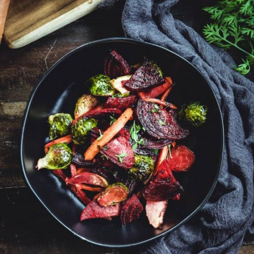 Maple dijon thyme roasted veggies
