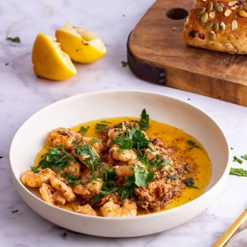 Chilli Prawns with Tomato Butter