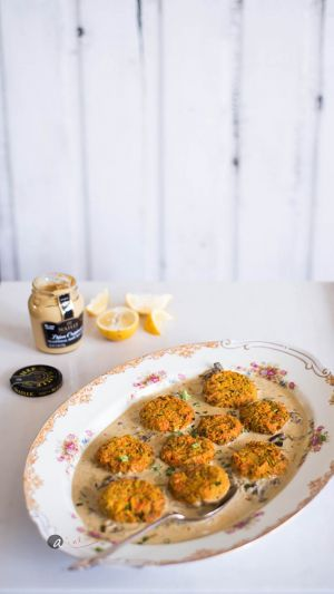 Vegetable Patties in Dijon-Mushroom Sauce