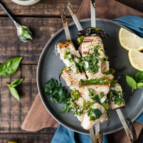 Grilled Swordfish w/ Herb Sauce