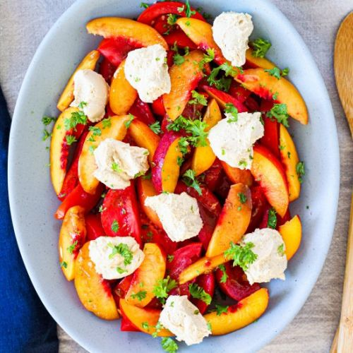 Tomato, Nectarine, and Cheese Salad