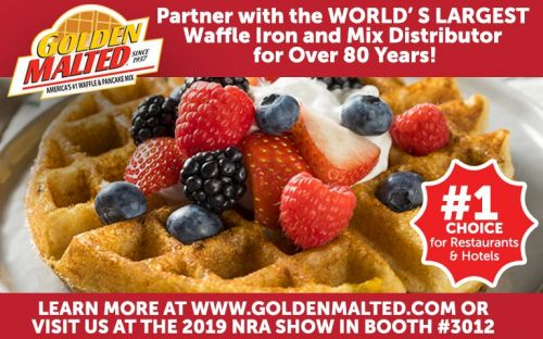 Golden Malted, the World's Largest Distributor of Waffle Mix and Irons since 1937, will be showcasing Fresh Baked Waffles & More in Booth 3012 at the 2019 NRA Show