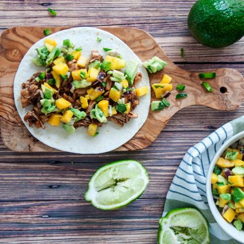 BBQ Jackfruit Tacos and Mango Salsa