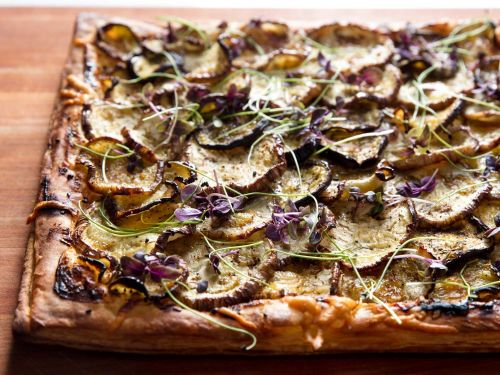 Eggplant Tart With Goat Cheese, Honey, and Nigella