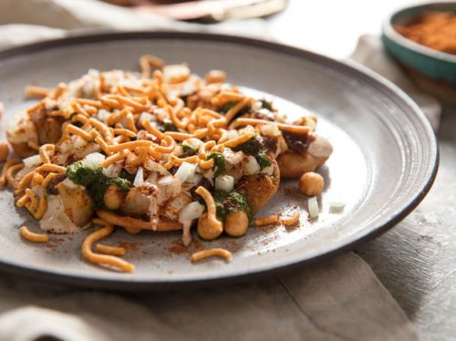 Papri Chaat (Indian Street Snack With Potato, Chickpeas, and Chutneys)