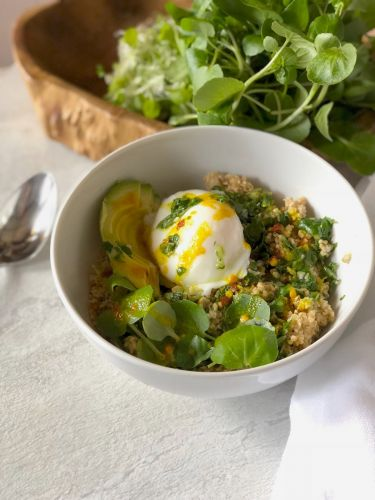 Savory Oatmeal with Watercress