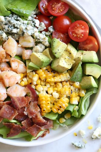 Chopped Salad with Shrimp, Blue Cheese and Bacon