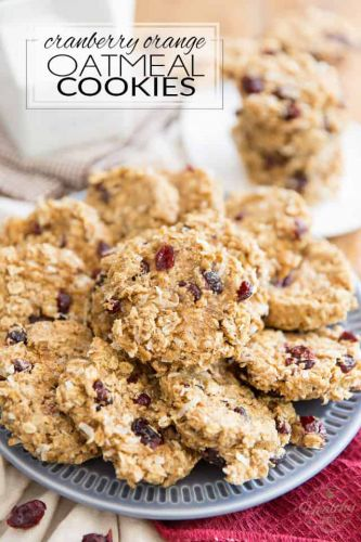 Soft and Chewy Cranberry Orange Oatmeal Cookies