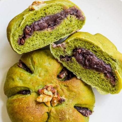 Matcha Buns + Sweet Red Bean Paste