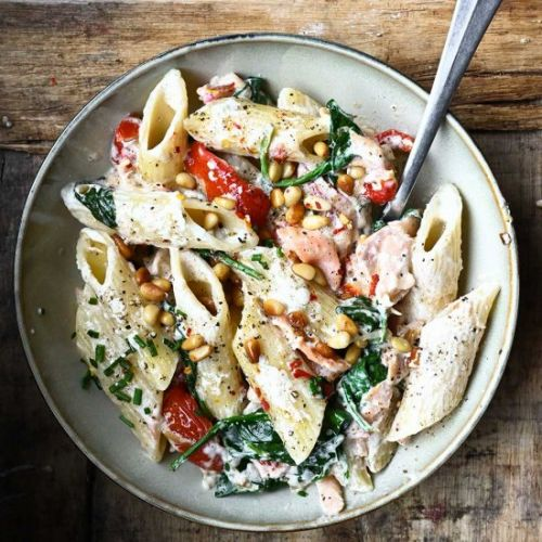 Penne with salmon and mascarpone