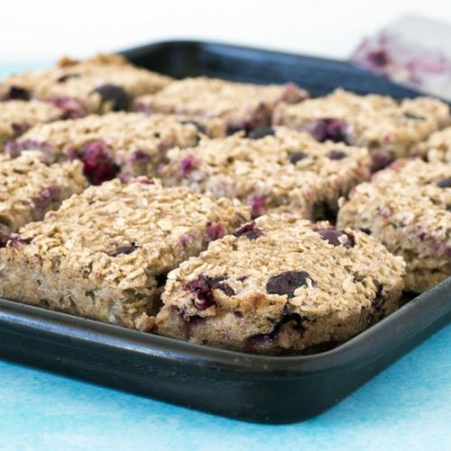 Banana blueberry porridge squares