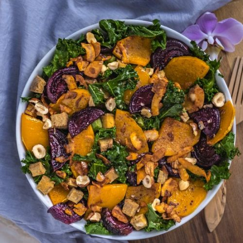 Fall salad with coconut bacon