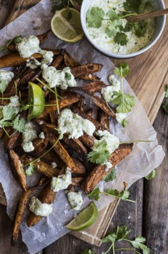Sweet Potato Fries and Cilantro Yogurt Sauce