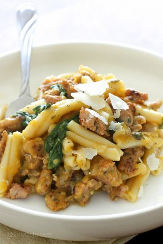 Pasta with Butternut Squash Sauce, Spicy Sausage and Baby Spinach