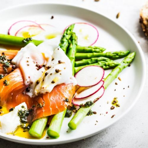 Smoked Salmon With Poached Egg, Roe