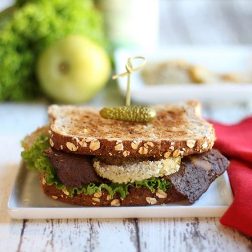 Vegan fried green tomato BLT