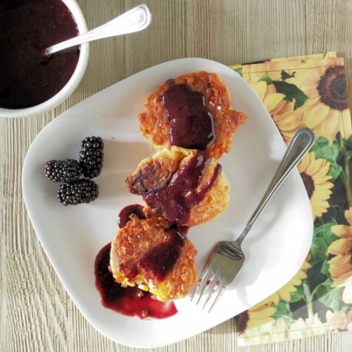 Corn Fritters with Blackberry Sauce