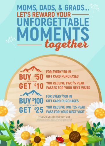 """Aspen Creek Grill - Let Us Reward Your Unforgettable Moments Together! Celebrate """"Mom's, Dads and Grads"""" This Spring! with Every $100 in Gift Card Purchases We Will Share $25 in Rewards!"""