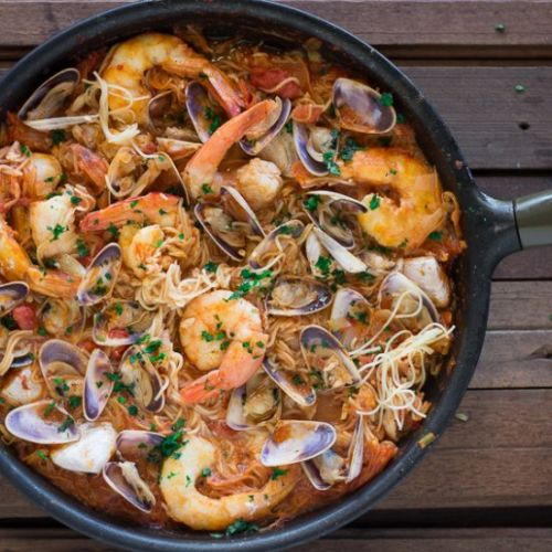 Prawn & Clams with Spanish Noodles