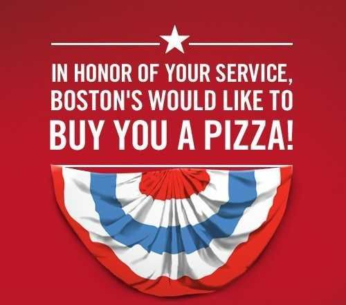 Boston's Pizza Restaurant & Sports Bar Teams Up with Operation Once in a Lifetime this Veterans Day