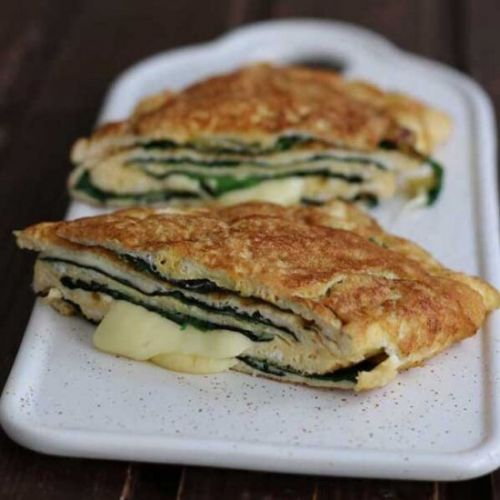 Keto Omelette with Cheese & Spinach