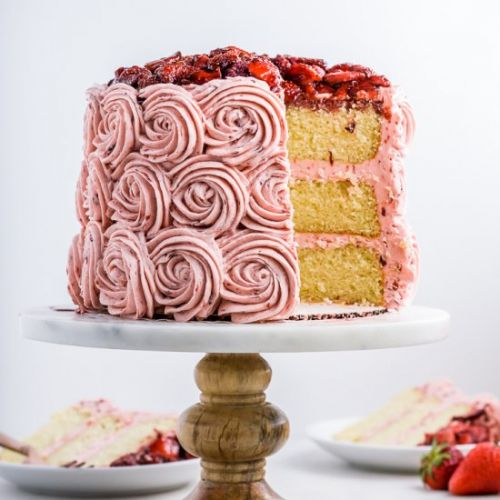 Balsamic Roasted Strawberry Cake