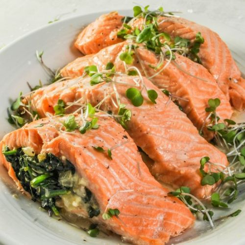 Feta & Spinach Stuffed Salmon