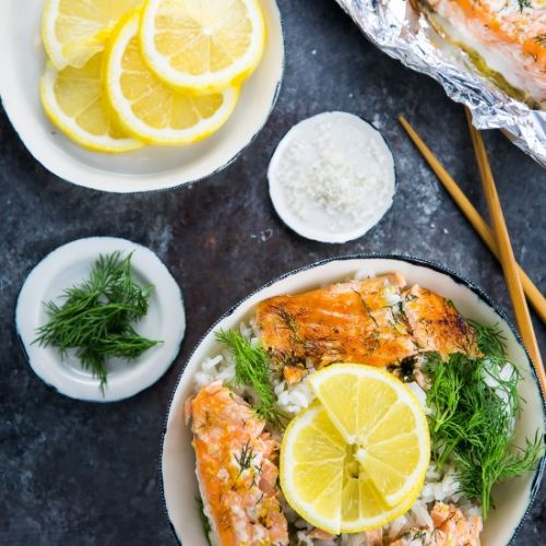 Baked Salmon Rice Bowl