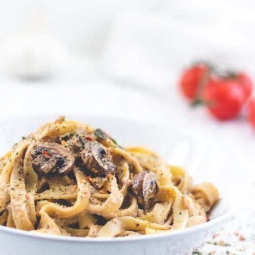 Mushroom and Herb Pasta with plant