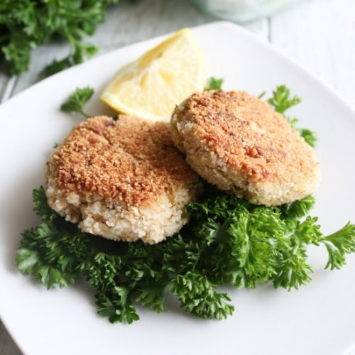Artichoke Crab Cakes with Sauce