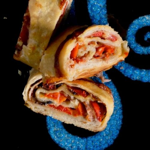 Stromboli with red peppers