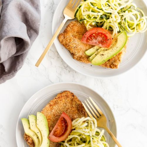 Breaded Pork Cutlets with Zoodles