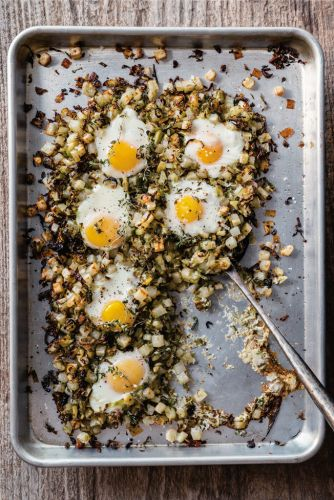 Brussels Sprouts and Potato Hash with Baked Eggs