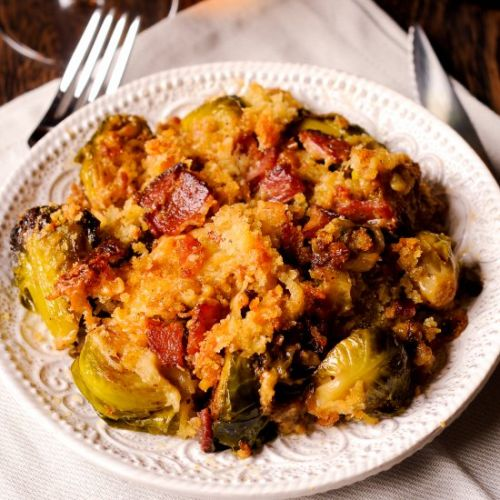 Brussels Sprouts and Bacon Gratin
