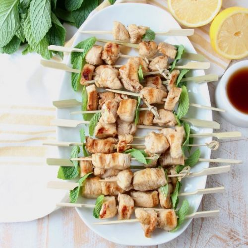 Mint Julep Bourbon Chicken Skewers