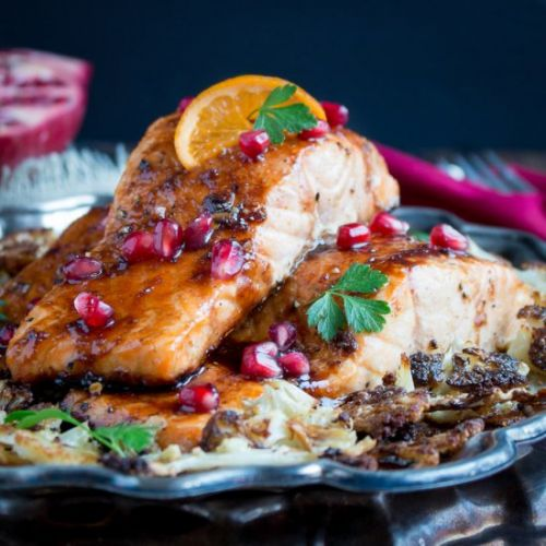 Baked Pomegranate Glazed Salmon