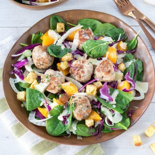 Pork and Fennel Meatball Salads