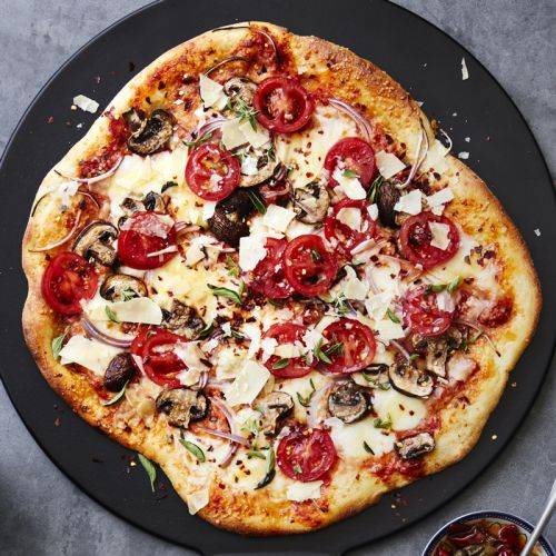 Pizza with Mushrooms, Tomatoes and Red Onions