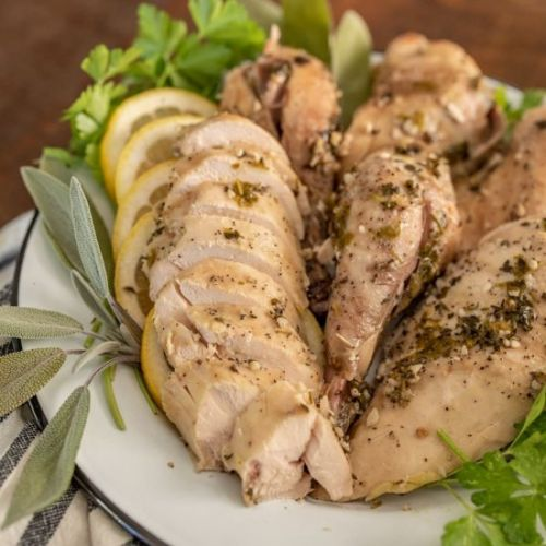 Crockpot Garlic Herb Whole Chicken