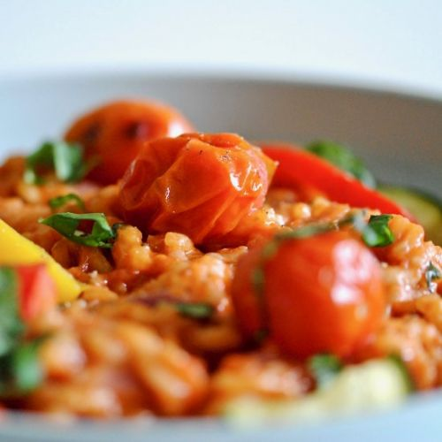 Tomato Risotto with Chargrilled Veg